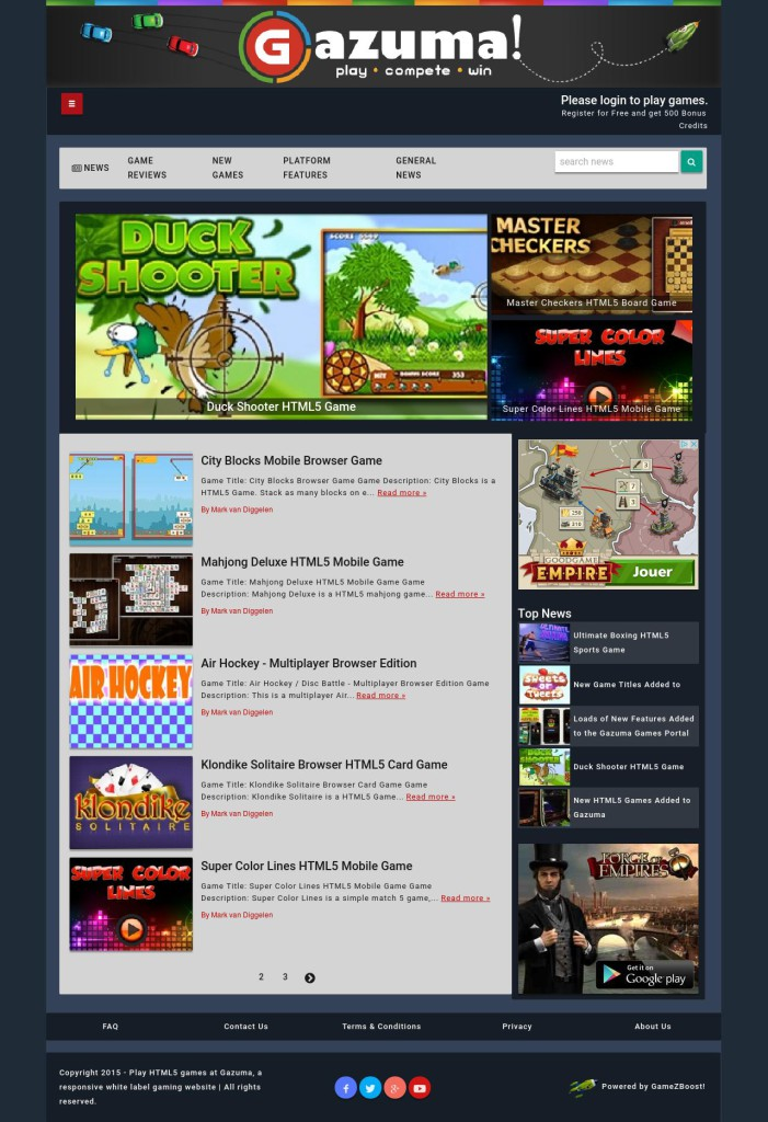 The Gaming News Platform Landing Page