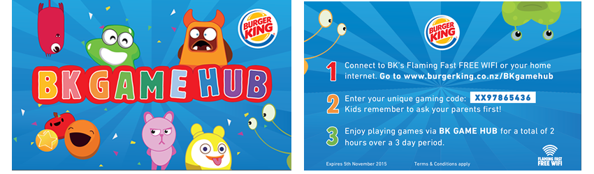Burger King New Zealand - BK Game Hub Vouchers