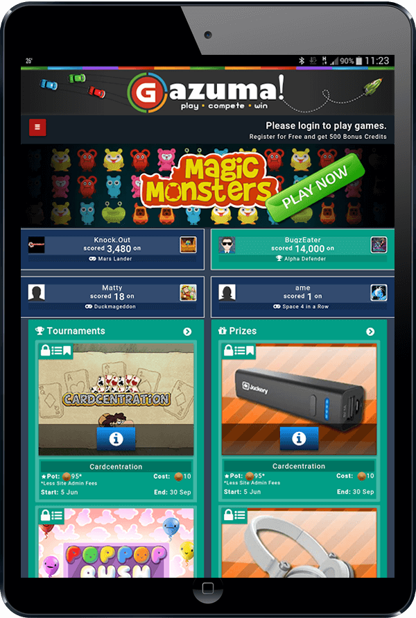 Tablet / iPad Browser View of the GameZBoost Mobile Web Games Website - Adaptive and Responsive