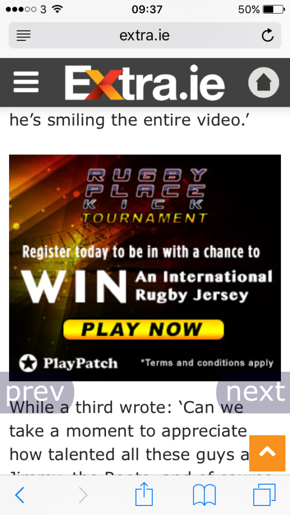 Banner Campaign Running on Evoke.ie - mobile site