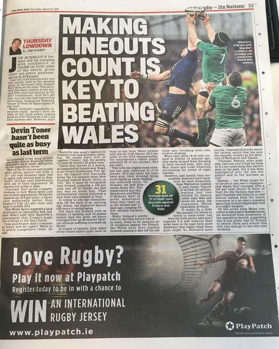 Print Ad to promote the PlayPatch Rugby Place Kick Tournament in the Irish Daily Mail