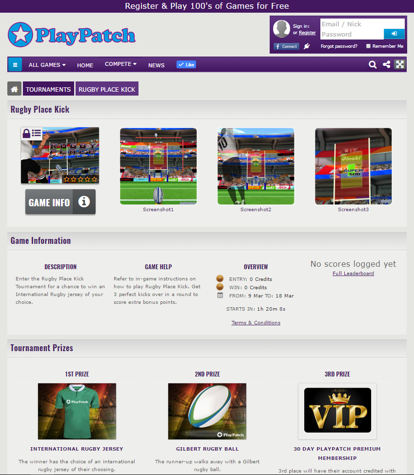 The tournaments info page for the PlayPatch.ie rugby place kick tournament