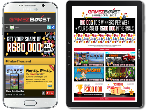 Screenshot of the GameZBoost Landing Page on MTN Play and The GameZBoost Site on MTN Play was switched to the Tournaments template, to ensure full visibility of the tournaments