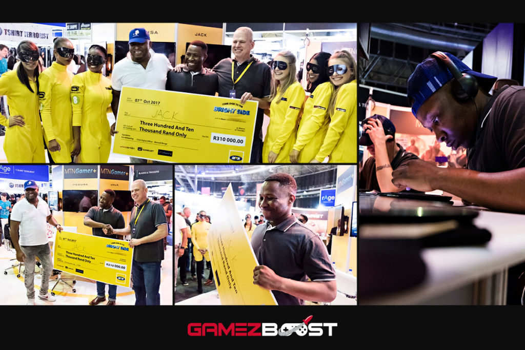 A very successful MTN Play GameZBoost Summer Challenge live finale at the 2017 rAge Gaming Expo. Jack walked away a very happy man with R310,000